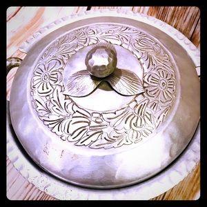 Vintage Floral Aluminum Serving Dish ❤️